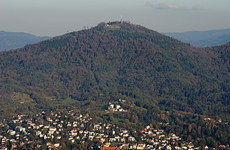 Merkur (mountain) - Merkur and Baden-Baden seen from Fremersberg