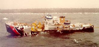 USCGC Mesquite (WLB-305) - Mesquite aground on her final voyage