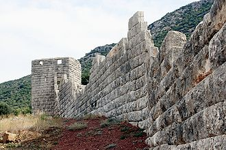 Ithome - The walls of Messene against a backdrop of Mount Ithome.