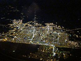 Mexicali and Calexico urban area, viewed at night from the American side of the border
