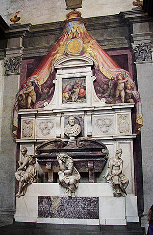 Grave of Michelangelo in Santa Croce in Firenze.