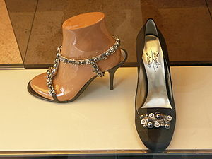 Italian fashion - Some elegant shoes in a shop in Milan's prestigious Via Montenapoleone.