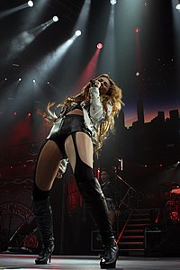 Cyrus performing in the Gypsy Heart Tour