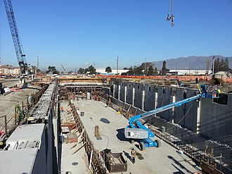 Milpitas station - Aerial view of construction in January 2015.