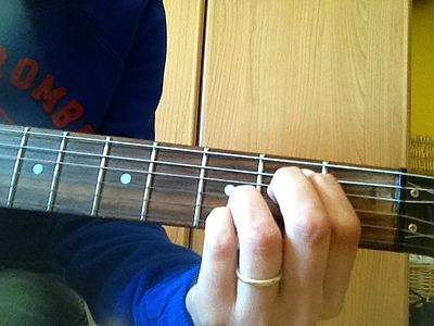 Mimin7 con mignolo Eminor7 chord with pinky