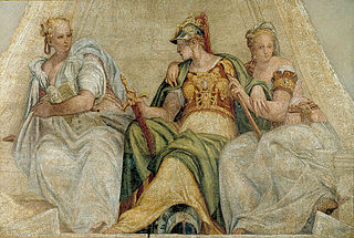 <i>Minerva between Geometry and Arithmetic</i> painting by Paolo Veronese