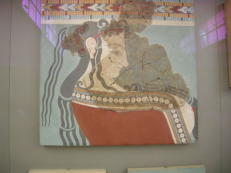 Bronze Age Minoan fresco in the National Archaeological Museum, Athens (from Wikimedia Commons)