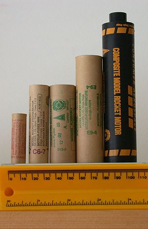 Model rocket - Rocket motors. From left, 13mm A10-0T, 18mm C6-7, 24mm D12-5, 24mm E9-4, 29mm G40-10.
