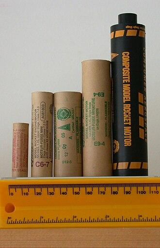 Model rocket - Rocket motors. From left, 13mm A10-0T, 18mm C6-7, 24mm D12-5, 24mm E9-4, 29mm G40-10.
