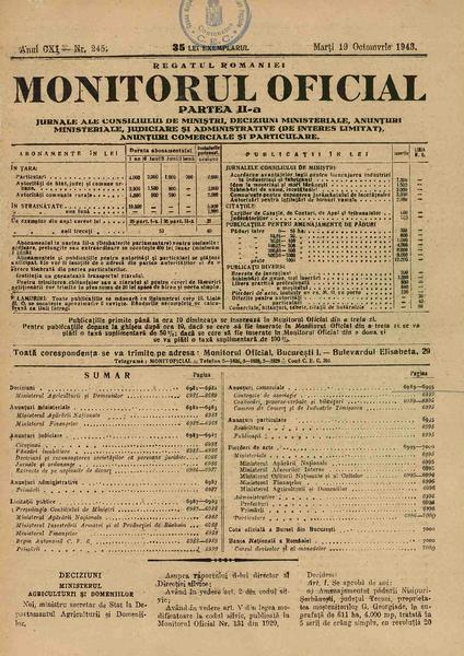 Monitorul Oficial al României. Partea a 2-a 1943-10-19, nr. 245