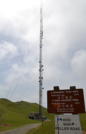 Monument Peak (Milpitas, California) - Monument Peak antenna, partially obscured by fog.