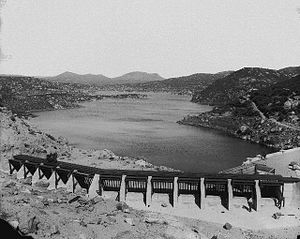 Morena Dam - View of Morena Reservoir from near the dam, looking upstream, c. 1918