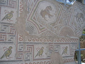 Biblical archaeology - Mosaic from a Byzantine Church dating from the 5th century. Mosaics are one of the main elements studied by biblical archaeology.