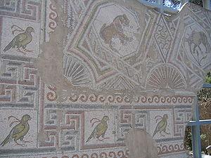 Mosaico de una Iglesia Bizantina datada del Siglo V. Los mosaicos constituyen uno de los elementos destacados en los estudios bíblicos