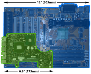 A comparison of a desktop computer motherboard...