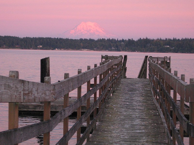 Mount Rainier over Totten Inlet dock.jpg