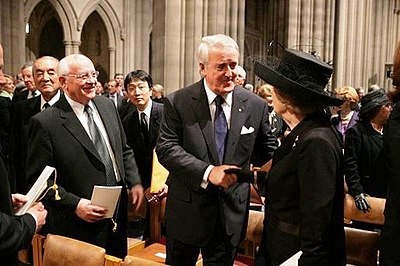 With former Soviet President Mikhail Gorbachev, former Canadian Prime Minister Brian Mulroney, and former UK Prime Minister Margaret Thatcher (at the funeral of Ronald Reagan on 11 June 2004) Mulroney Thatcher and Gorbachev at Reagan's funeral.jpg