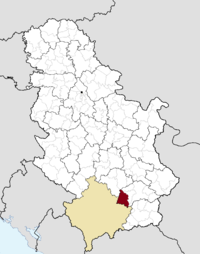 Location of the municipality of Medveđa within Serbia