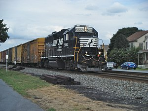Lyons, Pennsylvania - Norfolk Southern Railway freight train westbound on the Reading Line