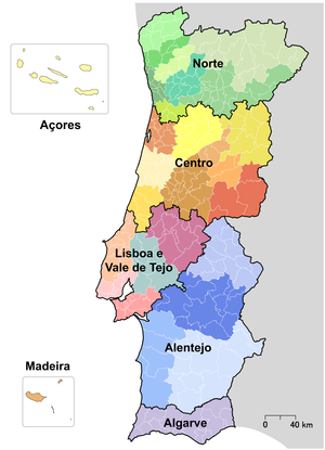 NUTS statistical regions of Portugal - Image: NUTS PT 1986