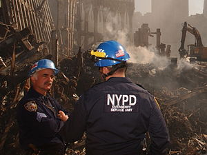 Emergency Service Unit - NYPD ESU at the site of the World Trade Center as part of Rescue and recovery effort after the September 11, 2001 attacks.