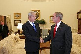 Adrian Năstase - Adrian Năstase with George W. Bush
