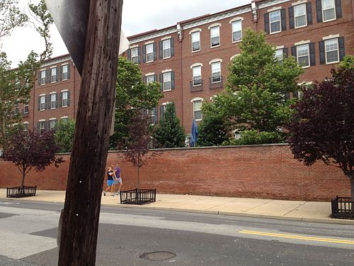 Brick wall separating Naval Square from Grays Ferry Avenue in Philadelphia, PA. NavalSquare.jpg