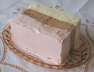 Neapolitan ice cream Chocolate, vanilla and strawberry icecream