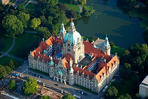 New Town Hall (Hanover) - Aerial view