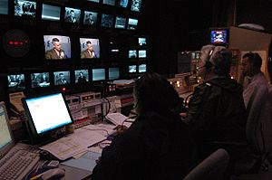 Production control room - Image: News Hour Control Room 2005