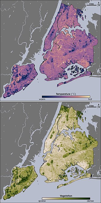 Urban heat island - Thermal (top) and vegetation (bottom) locations around New York City via infrared satellite imagery. A comparison of the images shows that where vegetation is dense, temperatures are cooler.