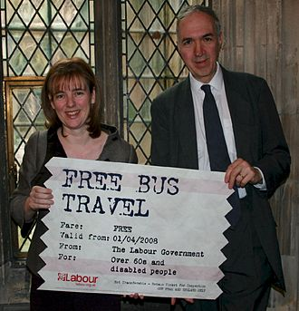 Nick Palmer - Nick Palmer with the then Secretary of State for Transport, Ruth Kelly, launching free bus travel.