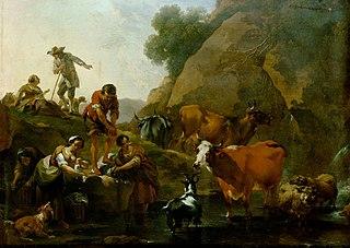 Viehherde mit waschenden Frauen