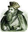 Nicodemus Frischlin auf einem zeitgenössischen Holzschnitt