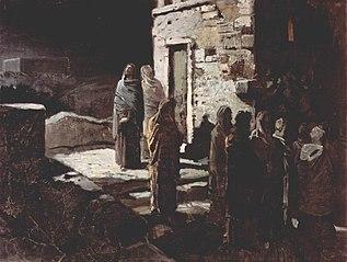 Christus betritt mit seinen Jüngern den Garten Gethsemane