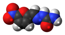 Space-filling model of the nitrofural molecule