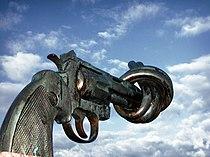 Non violence sculpture by carl fredrik reutersward malmo sweden.jpg
