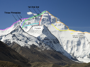 "Three Steps - North Face of Mt. Everest. ""1st"", ""2nd"", and ""3rd"" indicate the Three Steps."