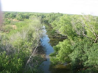 Nueces River - The Nueces with a low water level through Cotulla, the seat of La Salle County, Texas