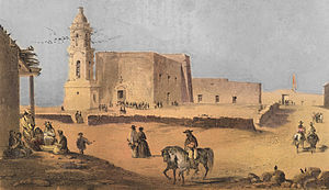 Ciudad Juárez - A painting of the Guadalupe Mission in the 1850s