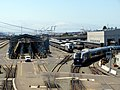 Oakland Maintenance Facility with Venture test train, July 2020.JPG