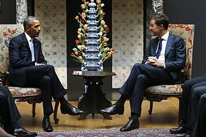 Royal Tichelaar Makkum - President Obama's chat with Mark Rutte during his visit to the Netherlands in 2014 was held in front of a replica of a pyramid flower-holder made by the Greek A factory. The replica was made in tin-glazed pottery by Royal Tichelaar Makkum.