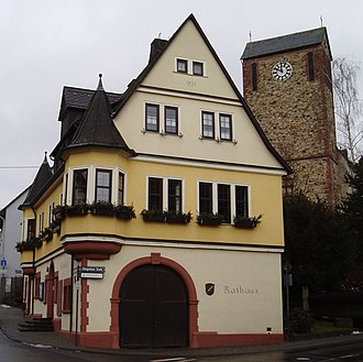 Niedernhausen - Town Hall and Saint Michael's Catholic Church, rebuilt after the Second World War, in Oberjosbach