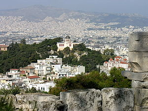 National Observatory of Athens - The Observatory as seen from the Acropolis.