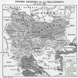 Occupied territories in the Balkans, end of April 1913