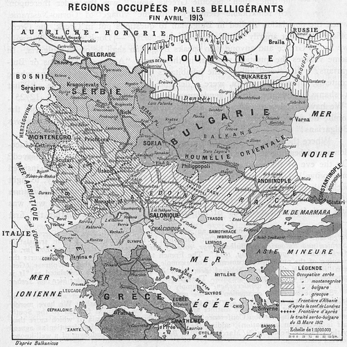 The territorial gains of the Balkan states after the First Balkan War and the line of expansion according to the pre-war secret agreement between Serbia and Bulgaria Occupied territories in the Balkans, end of April 1913.png