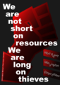 Occupy Wall Street Poster, 15-M, Indignados, We Are Not Short On Resources We Are Long On Thieves, A4.png