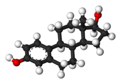 Pilk-kaj-bastona modelo de estradiolo.