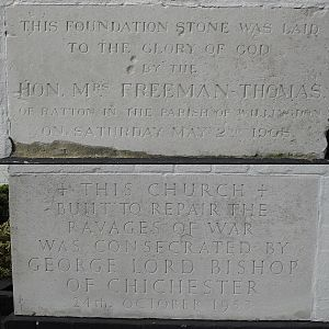 St Mary's Church, Hampden Park, Eastbourne - The foundation stone of the original church survives, and is set in the wall near the new foundation stone laid in 1953.