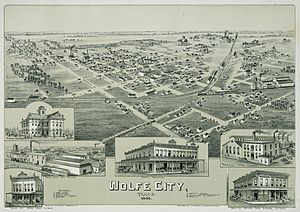Wolfe City, Texas - Image: Old map Wolfe City 1891